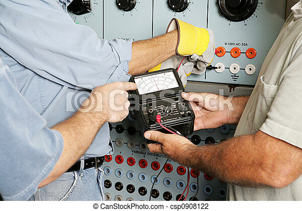 testar, elétrico, voltagem, equipe - csp0908122