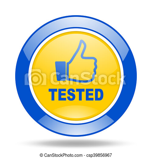 tested blue and yellow web glossy round icon - csp39856967