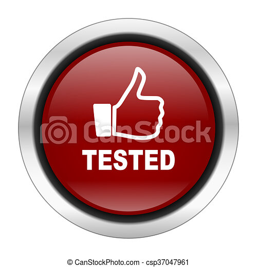 tested icon, red round button isolated on white background, web design illustration - csp37047961