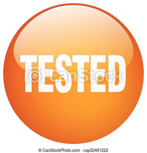 tested orange round gel isolated push button - csp32461222