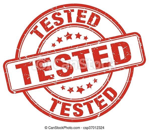 tested red grunge round vintage rubber stamp - csp37012324