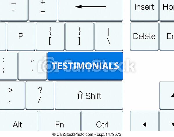 Testimonials blue keyboard button - csp51479573