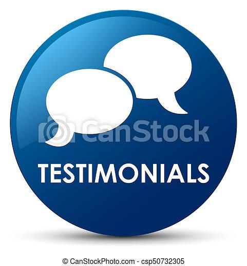 Testimonials (chat icon) blue round button - csp50732305