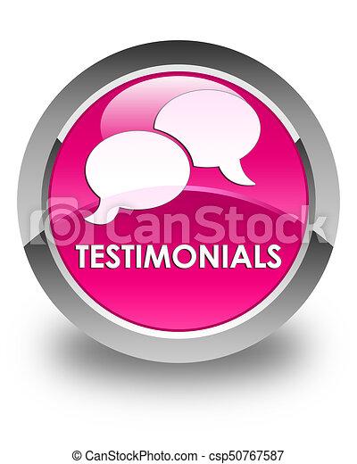 Testimonials (chat icon) glossy pink round button - csp50767587