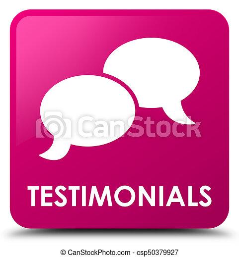 Testimonials (chat icon) pink square button - csp50379927