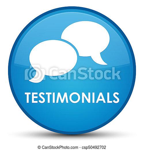 Testimonials (chat icon) special cyan blue round button - csp50492702