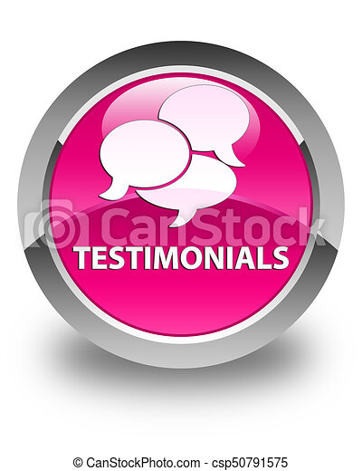 Testimonials (comments icon) glossy pink round button - csp50791575