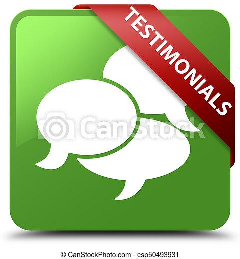 Testimonials (comments icon) soft green square button red ribbon in corner - csp50493931