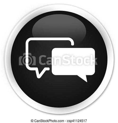 Testimonials icon black glossy round button - csp41124517