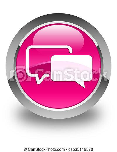 Testimonials icon glossy pink round button - csp35119578