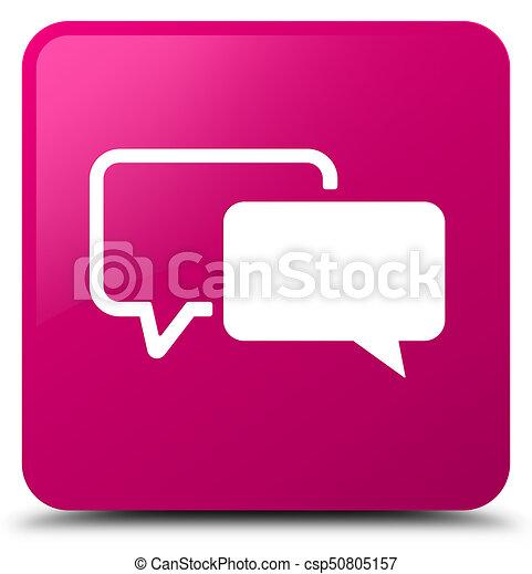 Testimonials icon pink square button - csp50805157