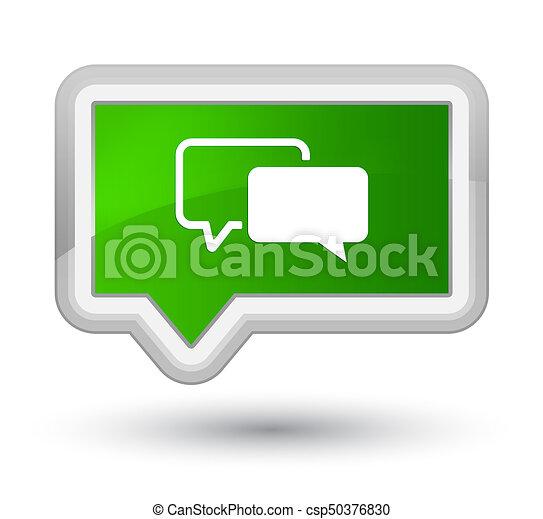 Testimonials icon prime green banner button - csp50376830