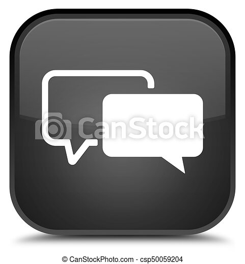 Testimonials icon special black square button - csp50059204