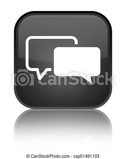 Testimonials icon special black square button - csp51491103