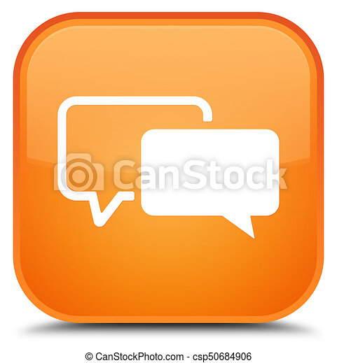 Testimonials icon special orange square button - csp50684906