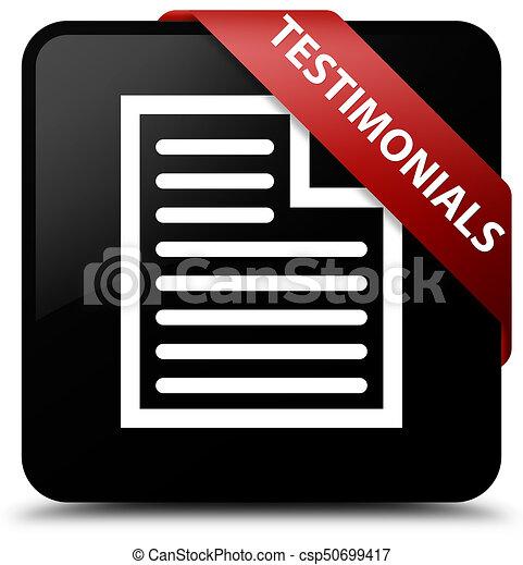 Testimonials (page icon) black square button red ribbon in corner - csp50699417