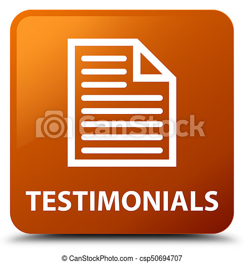 Testimonials (page icon) brown square button - csp50694707