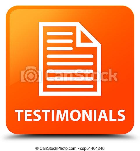 Testimonials (page icon) orange square button - csp51464248