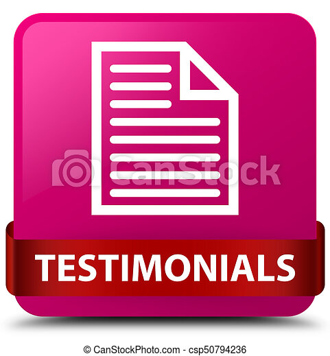 Testimonials (page icon) pink square button red ribbon in middle - csp50794236