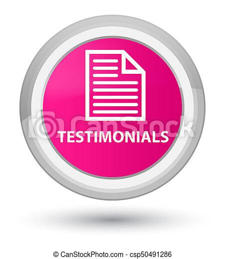Testimonials (page icon) prime pink round button - csp50491286