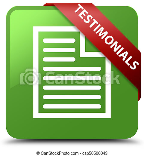 Testimonials (page icon) soft green square button red ribbon in corner - csp50506043