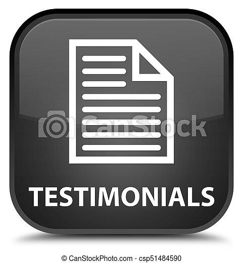 Testimonials (page icon) special black square button - csp51484590