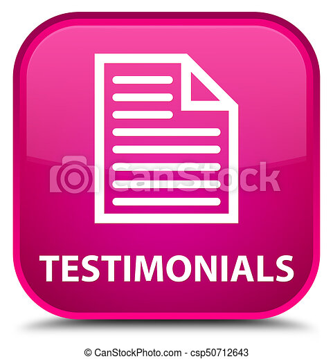 Testimonials (page icon) special pink square button - csp50712643