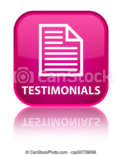 Testimonials (page icon) special pink square button - csp50709066