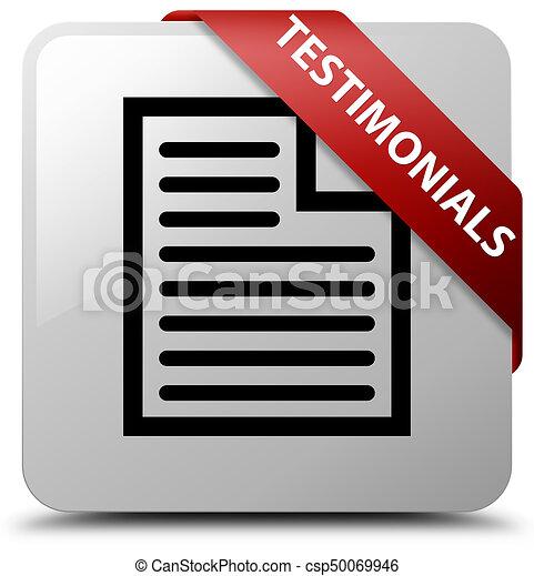 Testimonials (page icon) white square button red ribbon in corner - csp50069946