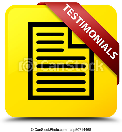 Testimonials (page icon) yellow square button red ribbon in corner - csp50714468