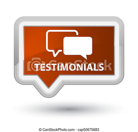 Testimonials prime brown banner button - csp50675683