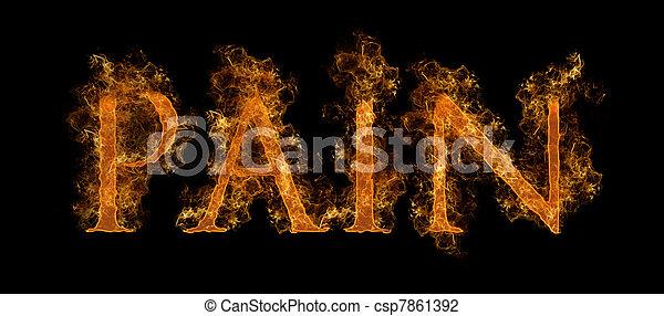 testo, fiammeggiante, dolore - csp7861392