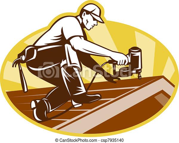 tető, tetőszerkezet, dolgozó, köszönőlevél, munkás - csp7935140
