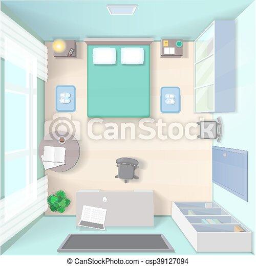 Tető, ágy, gyakorlatias, tervezés, szekrény, hálószoba,... eps ...