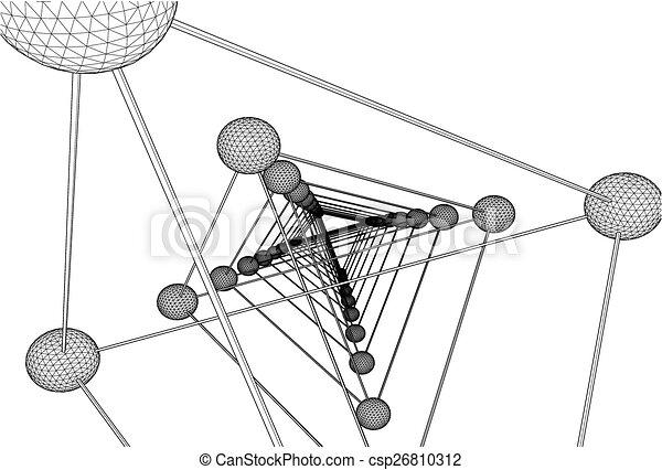 Tetrahedron DNA Molecule Structure  - csp26810312