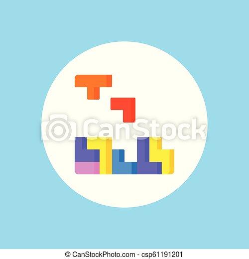 Tetris Vector Icon Sign Symbol Tetris Vector Line Icon Sign Illustration On Background Editable Strokes