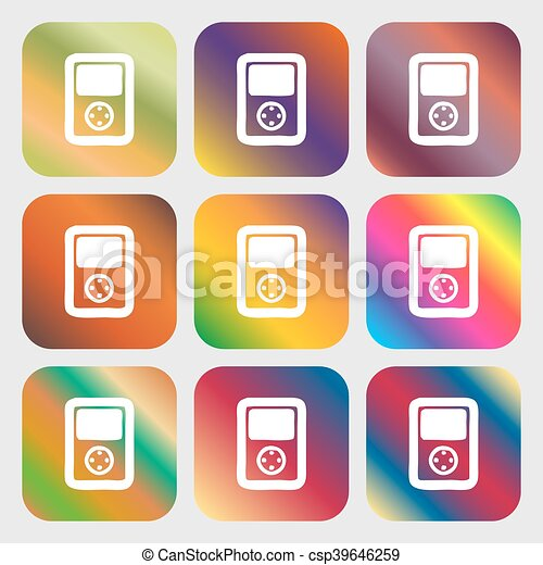 Tetris Video Game Console Icon Nine Buttons With Bright Gradients For Beautiful Design Vector