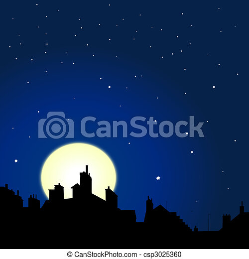 tetti, notte, vista - csp3025360