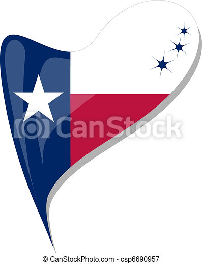 Texas Flag Button Heart Shape Vector