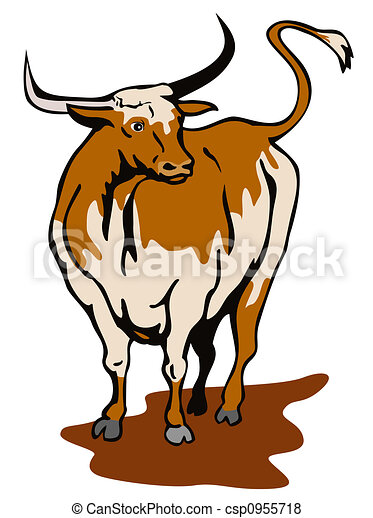 texas longhorn bull illustration on wildlife stock illustration rh canstockphoto com