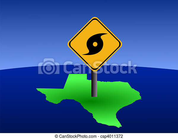 Texas map with hurricane sign - csp4011372
