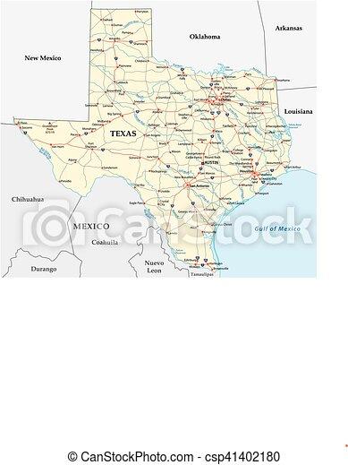 Texas road map. Texas road vector map.