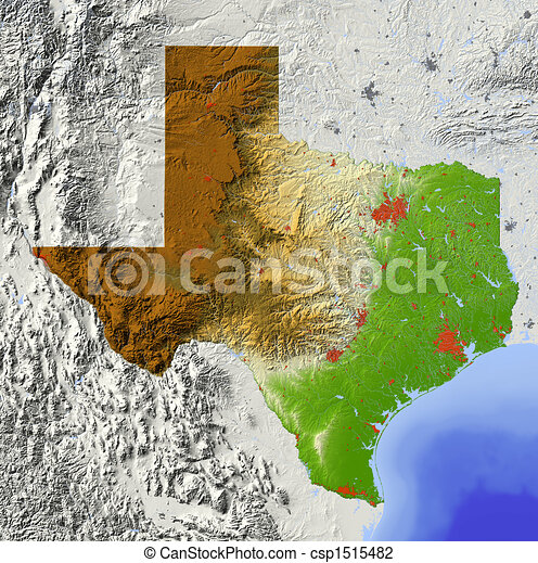 Texas, shaded relief map - csp1515482