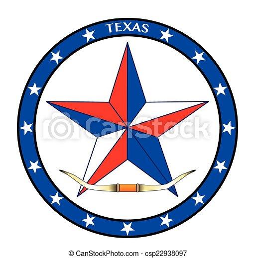 Texas Star and Steer Horns - csp22938097