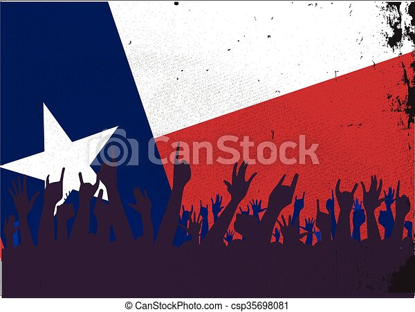 Texas State Flag with Audience - csp35698081