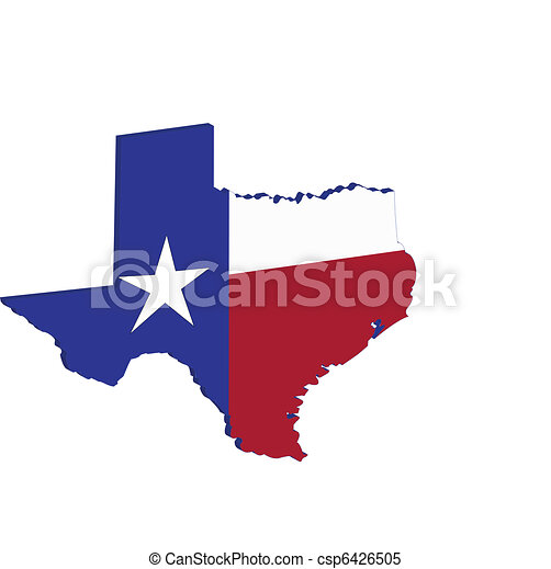 Texas State Map Flag