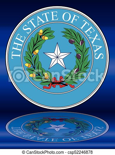 Texas State Seal Reflection The Seal Of The United Steas Of American State Texas With Reflection