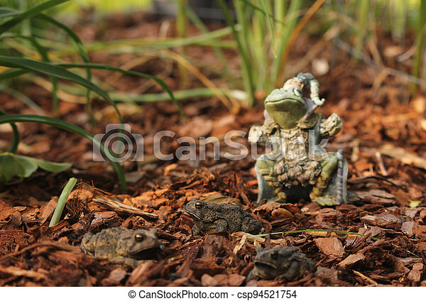 Texas Toads - Anaxyrus speciosus - With Statue of Frog King in Background - csp94521754