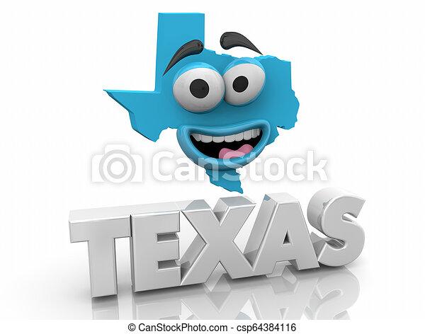 Texas Tx State Map Cartoon Face Word 3d Illustration