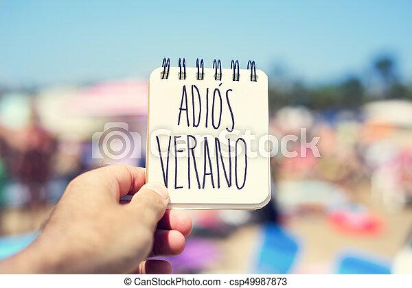 text adios verano, good bye summer in spanish - csp49987873